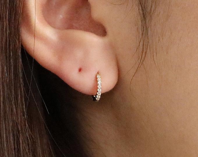 Featured listing image: Full Eternity 10mm Diamond Hoop Earrings, Eternity Diamonds Huggie Hoop Earring, Full Diamond Set Earrings, Hoop Earrings, Single or Pair