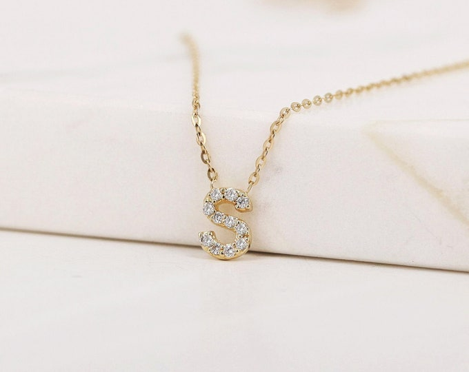 Featured listing image: Diamond Initial Necklace, Diamond Letter Necklace, Personalized Diamond Necklace, Initial Necklace, 14K Initial Necklace, 14K Name Necklace