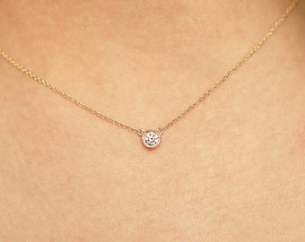 Diamond Necklace / Diamond Solitaire Necklace / Solitaire Diamond Necklace / Diamond Bezel Necklace / Minimalist Necklace / 14K Necklace