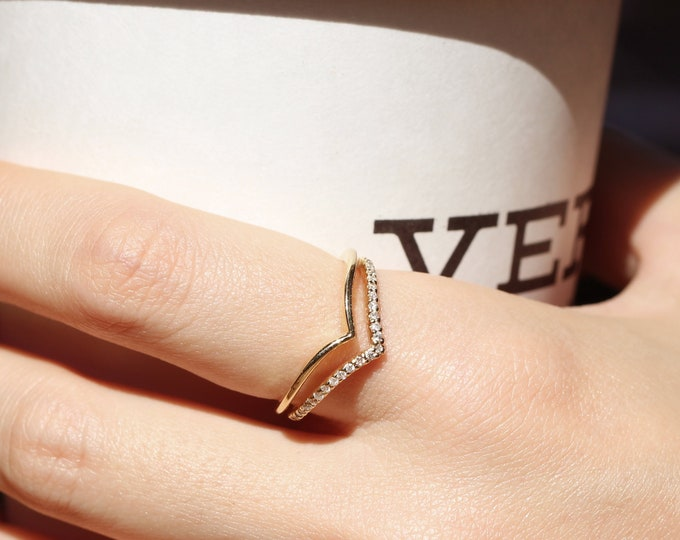Featured listing image: Chevron Diamond Ring, Engagement Ring Guard Ring, Diamond Double Chevron Ring, Diamond Wedding Band, Diamond Engagement Band, Layering Ring