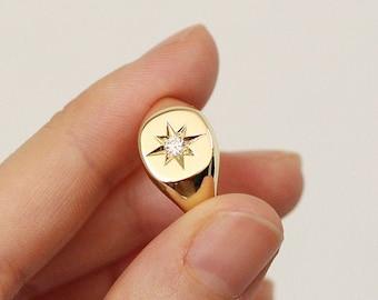 Polaris Signet Ring, Diamond Signet Ring, Minimalist Signet Polaris Ring, Polaris Star Natural Diamond Signet Ring, 14k Gold Signet Ring