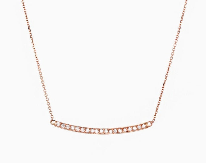 Featured listing image: Diamond Necklace, Curved Bar Diamond Cluster Necklace, Natural Brilliant Cut Diamond Necklace, 0.20 CTW. 19 Diamonds Prong Set Necklace