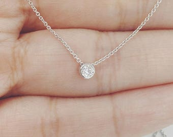 Diamond Necklace, Diamond Solitaire Necklace, Natural Brilliant Cut Diamond Bezel Necklace, Minimalist Tube Bezel Necklace, Bridesmaids Gift