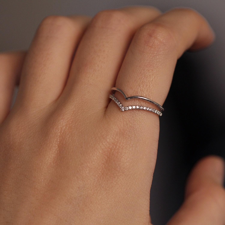 Chevron Diamond Ring Engagement Ring Guard Ring Diamond Double