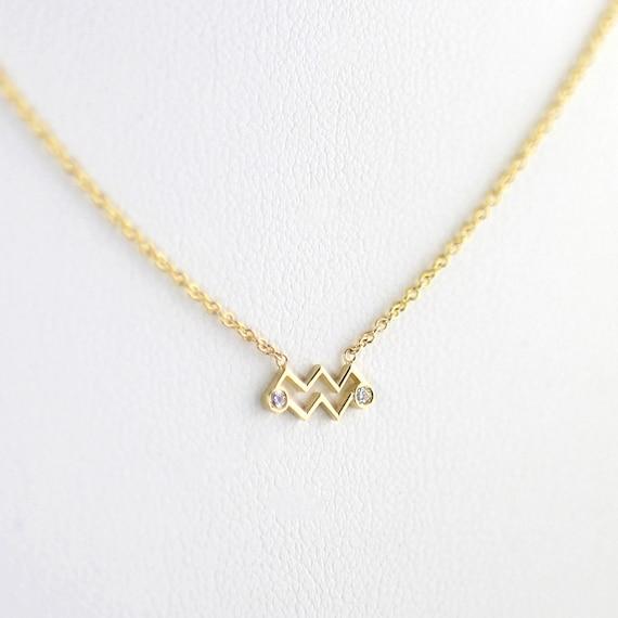 Fine 14k Yellow Gold Aquarius February Zodiac Sign Horoscope Pendant Necklace