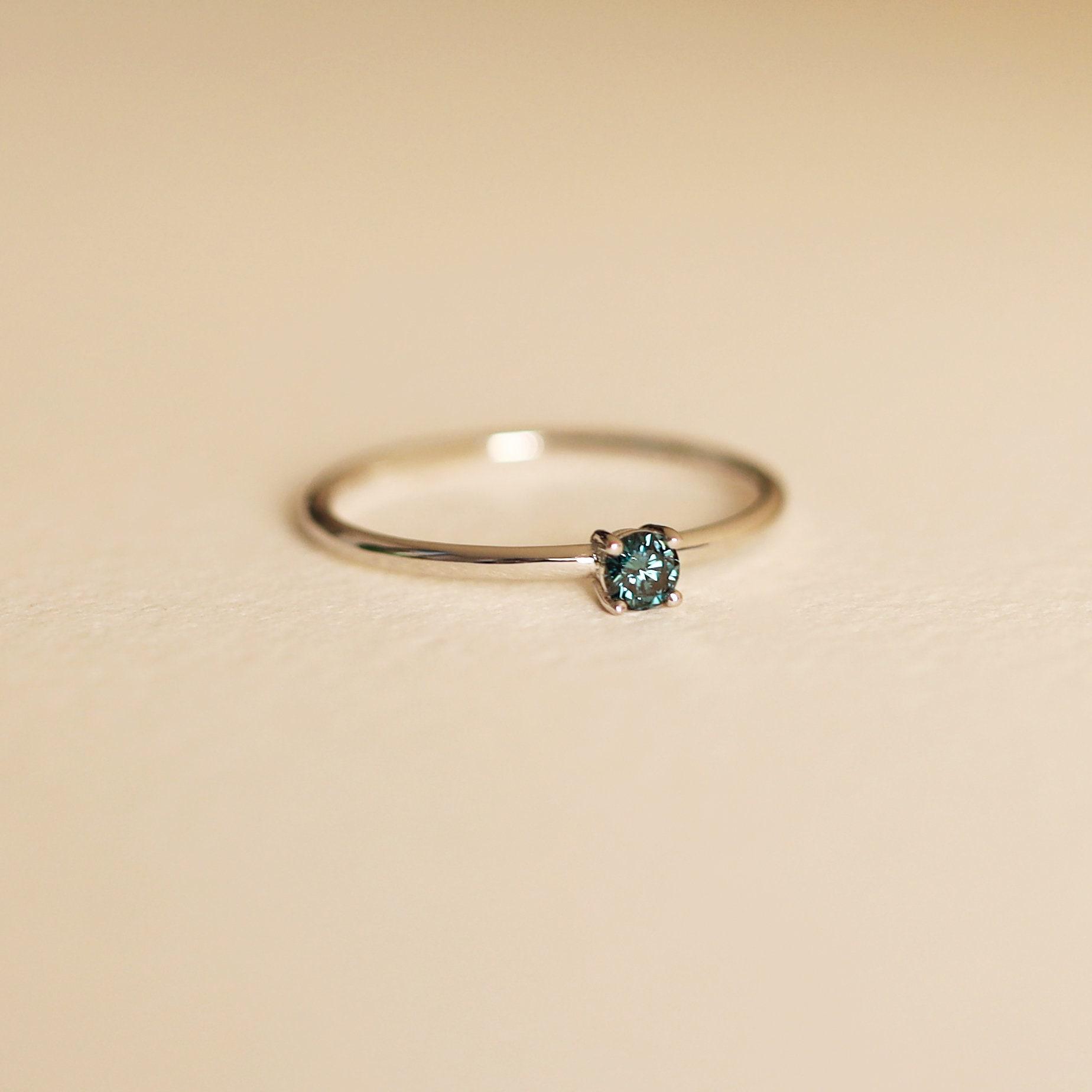 Natural Blue Diamond Ring 4 Prong Ring Blue Diamond Ring Blue