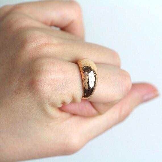 Kuppelring 14 K Gold Ring 14k Solid Gold Ring Dicken Etsy