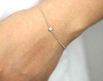 Diamond Bracelet, Diamond Solitaire Bracelet, Natural Brilliant Cut Bezel Diamond Bracelet, Minimalist Bracelet, Diamond Bezel Bracelet