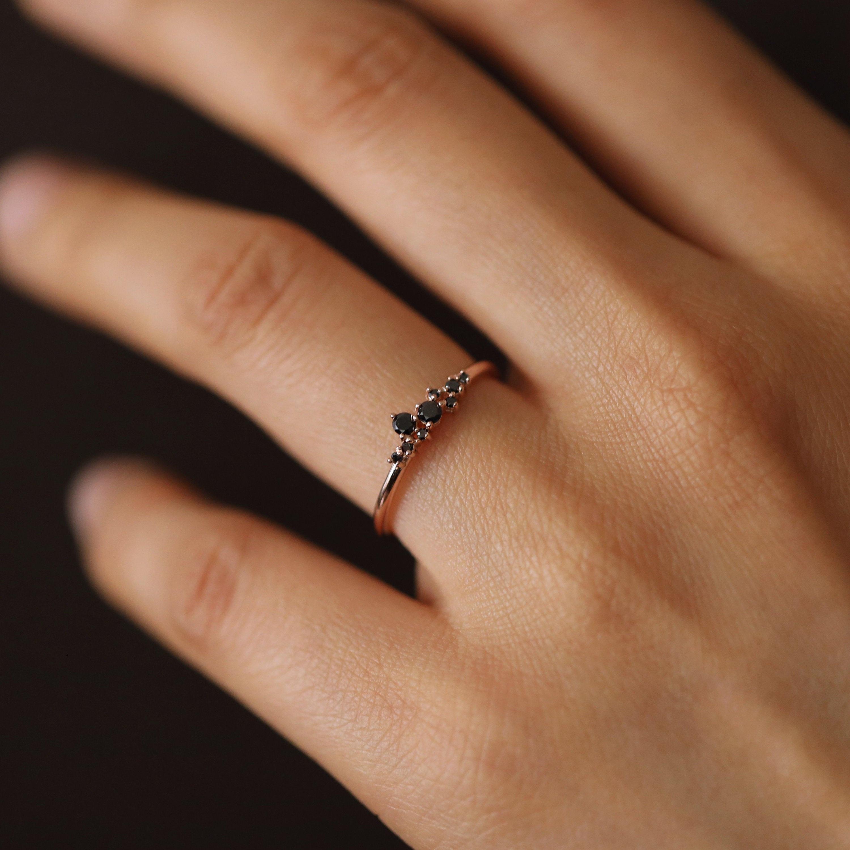 Black Diamonds Cluster Ring Cluster Black Diamond Ring Black Diamond Wedding Ring Black Diamond Ring Minimalist Black Diamond Ring