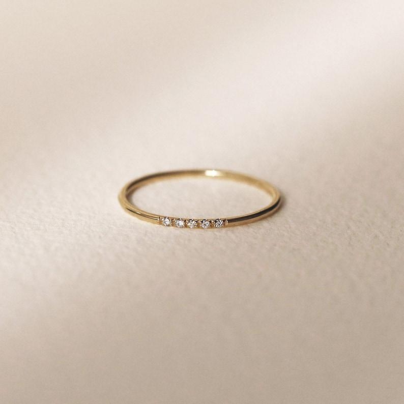 Minimalist Wedding Band Diamond Wedding Ring Diamond Wedding image 0