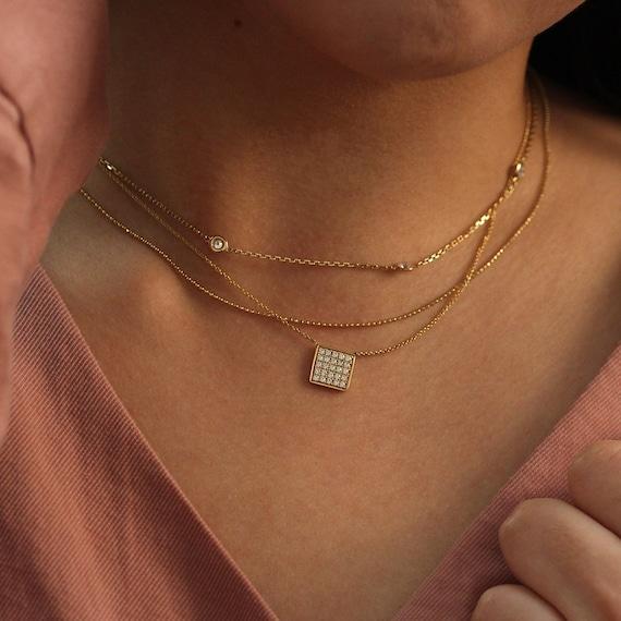 Square Charm Diamond Necklace Wedding Necklace Bridal Etsy