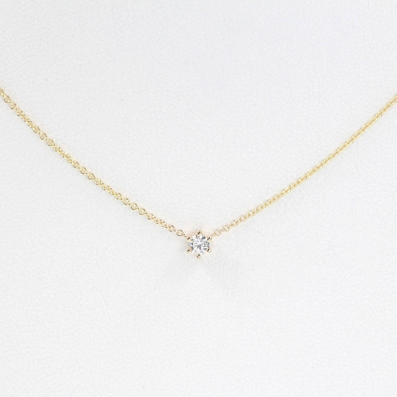 14K Gold Necklace Diamond Solitaire Necklace Minimalist Diamond Jewelry Personalized Jewelry 6 Prong Diamond Pendant Necklace