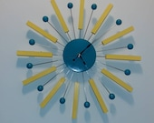Large Retro Atomic Ball Sticks Clock Mid Century Modern Atomic Handmade 21 quot X 21 quot Wood and Wire Decor George Nelson Style star burst eames