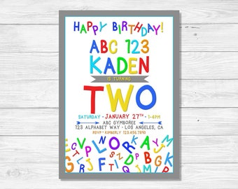 ABC Invitation 2nd Birthday Two Year Old Invites Abc 123 Digital DIGITAL FILE