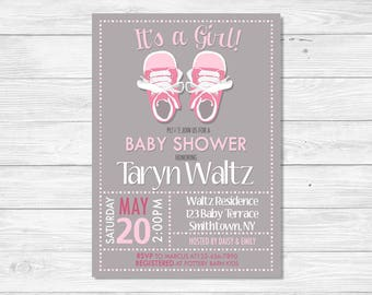 Baby Shower Invitation, It's a Girl Baby Shower Invitation, Pink and Gray Baby Shower Invitation, Gray Baby Shower Invitation, DIGITAL FILE