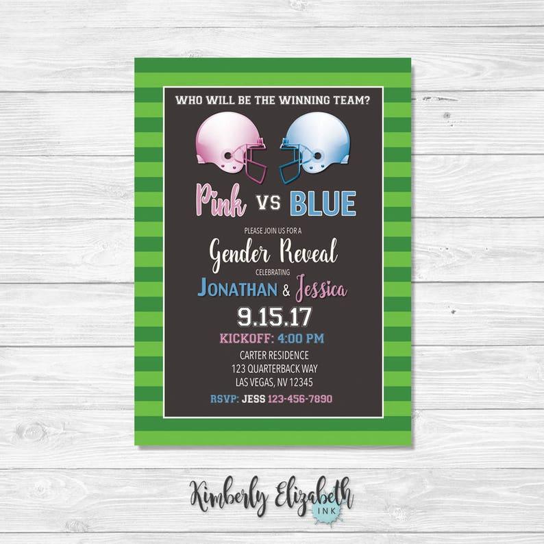 Football Gender Reveal Invitation Pink And Blue DIGITAL FILE