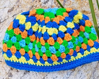 Colorful fun crocheted hat