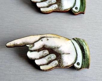 Pointing Finger Wooden Brooch Pin