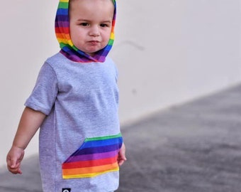 3c6077449 Retro Rainbows Pocket Tee Hooded | toddlers rainbow tee, toddlers t-shirts,  kids t-shirts, rainbow shirts, kids rainbow, rainbow baby