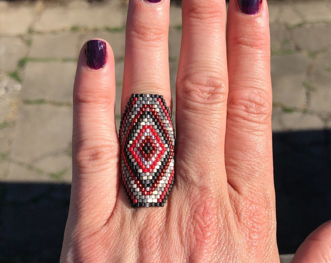 Finger Bling Handwoven Seed Bead Ring one of a kind