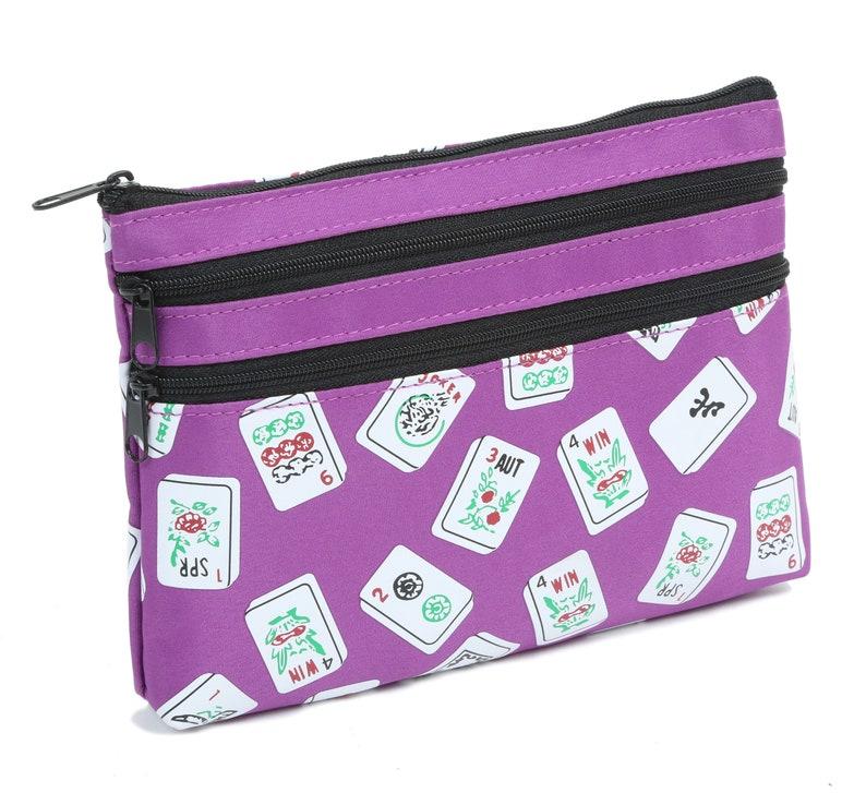 Mah Jongg Purple Color Tiles 3 Zipper Mah Jong Purse for Mahjong Card