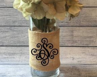 Monogrammed Burlap Wrap Glass Holder