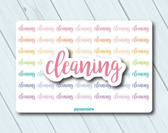Cleaning Planner Stickers - Cleaning Stickers - Word Outline - Erin Condren Life Planner - Happy Planner - Mambi - Kikki K - Matte or Glossy