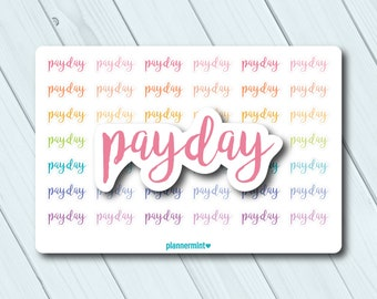 Payday Stickers - Script Planner Stickers - Multicolor - Erin Condren Life Planner - Happy Planner - Word Outlines - Money - Matte or Glossy