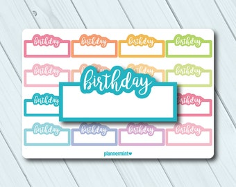 Birthday Planner Stickers - Fillable Tracker - Erin Condren Life Planner - Happy Planner - Birthday Party - Matte or Glossy Stickers