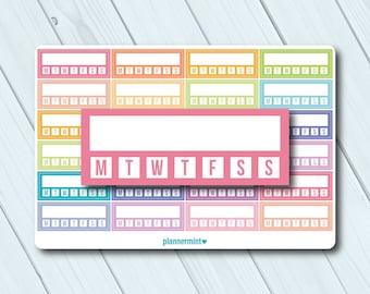 Habit Tracker Planner Stickers - Fillable Tracker - Weekly - Erin Condren Life Planner - ECLP - Happy Planner - Matte or Glossy Stickers