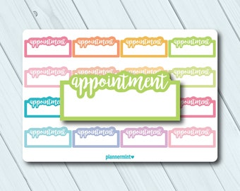 Appointment Planner Stickers - Fillable Tracker - Erin Condren Life Planner - Happy Planner - Work - Business - Matte or Glossy Stickers