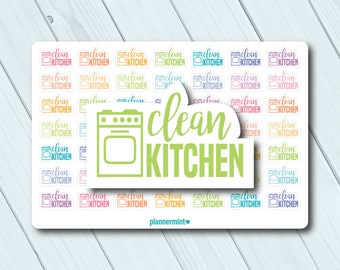 Clean Kitchen Planner Stickers - Word Outline - Erin Condren Life Planner - Happy Planner - Cleaning - Chores - Dishes - Matte or Glossy