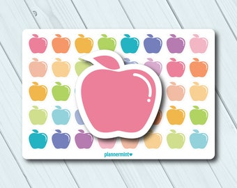 Apple Planner Stickers - Icon - Erin Condren Life Planner - Happy Planner - Healthy - Clean Eating - Weight Loss - Food - Matte or Glossy