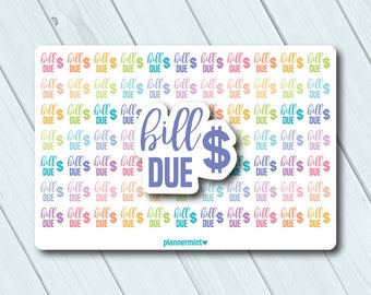 Bill Due Planner Stickers - Pay Bills - Word Stickers - Erin Condren Life Planner - Happy Planner - Mambi - Money Stickers - Matte or Glossy