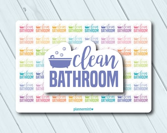 Clean Bathroom Planner Stickers - Word Outline - Erin Condren Life Planner - Happy Planner - Cleaning - Toilet - Tub - Matte or Glossy