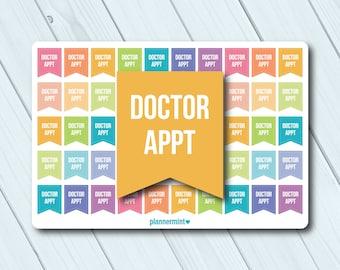 Doctor Appointment Planner Stickers - Essentials - Flag Sticker - Erin Condren Life Planner - Happy Planner - Dr. Appt. - Matte or Glossy