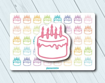 Birthday Planner Stickers - Icon - Erin Condren Life Planner - Happy Planner - Mambi - Birthday Cake - Birthday Party - Matte or Glossy