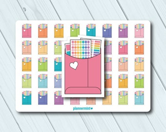 Happy Mail Planner Stickers - Functional Icon - Erin Condren Life Planner - Happy Planner - Mailer - Envelope - Matte or Glossy