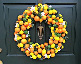 Orange Wreath, Lemon Wreath, Front Door Wreath, Green Yellow Wreath, Handmade Wreath, Centerpiece Wreath, Indoor Wreath, Citrus Wreath