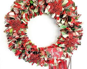 40% OFF HOLIDAY SALE! Christmas Wreath, Santa Wreath, Holiday Wreath, Door Wreath, Door Wreath, Rag Wreath, Fabric Wreath, Holiday Décor