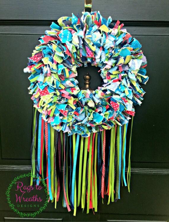 Rag Wreath Butterfly Moth Wreath Spring Summer Wreath Door | Etsy