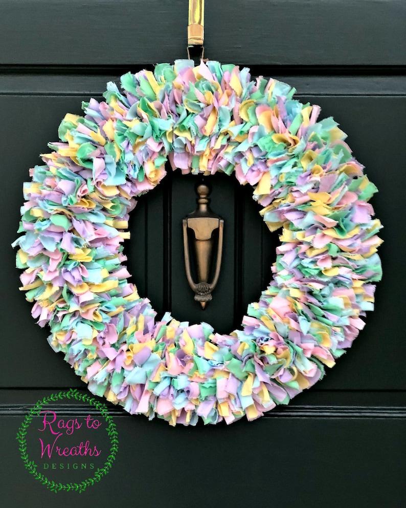 Front Door Wreath Door Wreath Spring Wreath Holiday Wreath Fabric Wreath Easter Wreath Easter D\u00e9cor Ribbon Wreath Rag Wreath