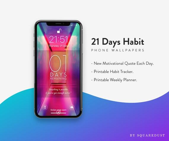 2019 Phone Wallpapers Habit Wallpaper 21 Days Habit Tracker Planner Weekly Planner Iphone Iphone Wallpaper Etsy Wallpaper Download