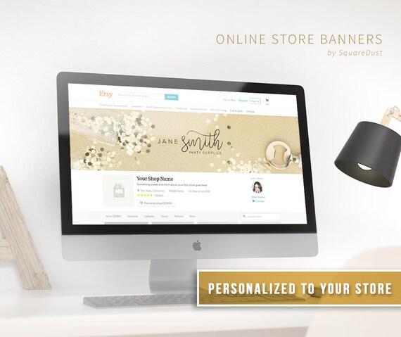 Elegant Gold Etsy FB Banner Template Personalized Custom