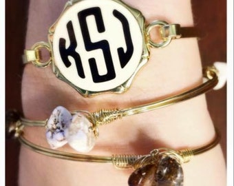 SALE!!! Monogrammed Bangle Bracelet, Bridesmaid gift