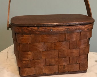 Wooden Basket Weave Handbag