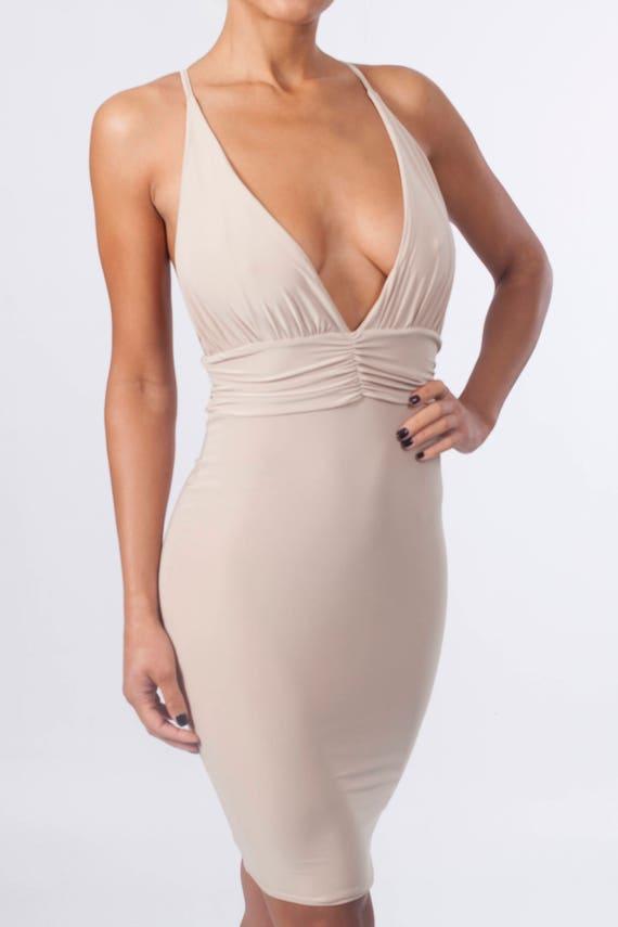 Nude Plunge Bodycon Sexy Midi Beige dress Neck rqEprw4