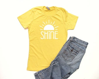 b16a5f79b Shine Shirt Junior Fitted Christian T Shirts for Women Yellow Shirt  Christian Shirts Cute Shirts for Women Let It Shine Womens Camp Shirt