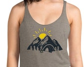 Mountain Print - Women's Racerback Tank / Sunrise / Peak / Camping / Outdoor Adventure / Hiking / Climbing / Road Trip / Wanderlust