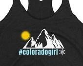 Colorado Girl - Women's Racerback Tank - Mountains / Sun / Snow / CO / hiker / runner / trail / gym / exercise top